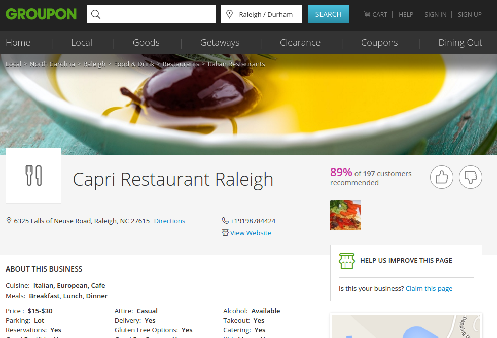 Capri Restaurant Raleigh